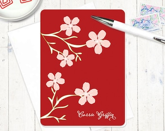personalized stationery set - CHEERY CHERRY BLOSSOMS - set of 8 folded note cards - stationary - flowers