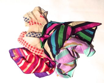 Vintage 1960s/1970s Lot of 4 Colorful Silk Scarves/Echo/Mod/Striped/Purple