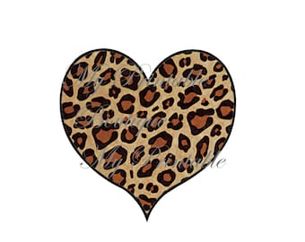 iron on heart brown Cheetah for Tshirt iron on transfer, instant download
