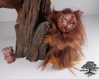 OOAK Plush Fantasy Art Doll FULLY Poseable Brown Faux Fur Sloth Creature | Artist Doll | Fantasy Doll | OOAK Art Doll