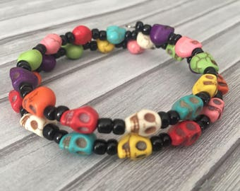 Day of the Dead Bracelet, Halloween Beaded Bracelet, Sugar Skull