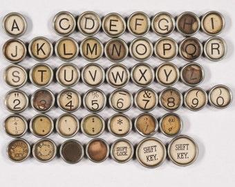 Typewriter Key Flat Back Vintage Antique 1929 Underwood No. 5 Your Choice ref010