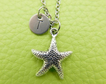 Starfish Initial Necklace Monogram Stainless steel chain