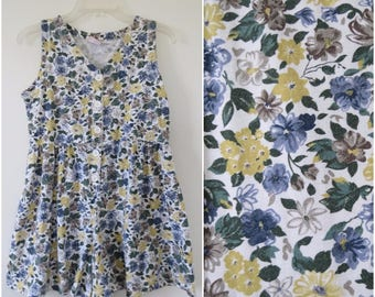 1990s Floral Romper - Blue and Yellow Floral - Bust 34 by No Boundaries (B1)