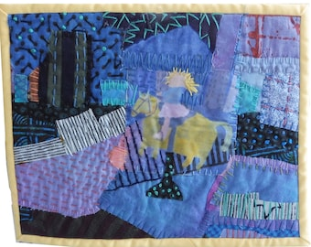 """Quilt Art  wall. Fiber art wall hanging . Mixed media. Textile collage    Little Girl Who Loved Horses  8""""x10"""""""