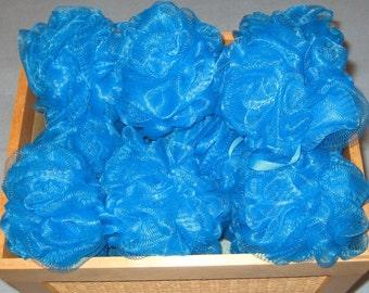 Blue Bath Poufs-Mesh Bath Sponge - Bath Accessory-30g-Favor Supplies -Custom Order- Bath Supplies-Baby Shower Favors-Gifts.