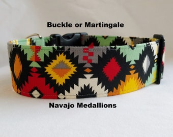 Navajo Medallions Southwest Aztec- Buckle or Martingale Dog Collar-Large Breed Dog- 1.5 -2 inch width Red-Black-Yellow-Orange-Grey