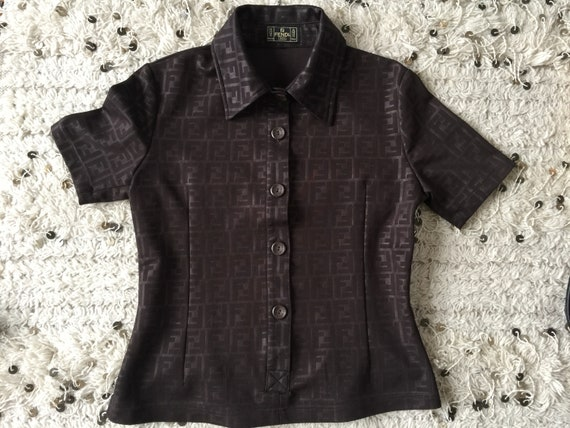 Vintage Fendi Collar Shirt, Polo Shirt Size Made in Italy M Rare