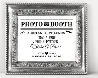 Photo Booth Wedding Sign Personalized For Your DIY Wedding