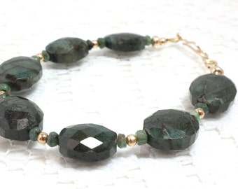 Natural Emerald Bracelet, May Birthstone, Green and Gold, Gold Filled, Emerald Gemstone, Birthday Gift for Her