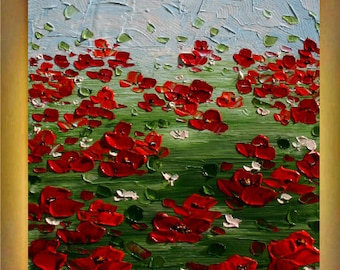 Original  Modern  Red Orange Poppies Floral  Acrylic  Palette Knife Fine Art    Painting.Free Shipping