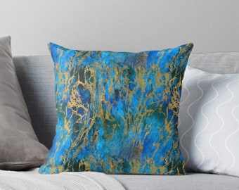 Blue and Gold Swirls Throw Pillow, Floor Pillow, Pillow Case and Insert - 3 Sizes Available!