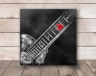Guitar wall art Guitar chalkboard Guitar printable Guitar art print Guitar poster music Poster guitar. Instant download