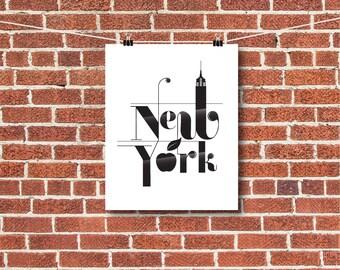 "New York Art, New York City Print, NYC, ""The Big Apple"""