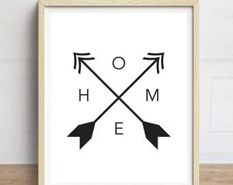 Home Print, Arrows Art Print, Minimalist Art, Tribal Print, Home Compass Print, Black and White