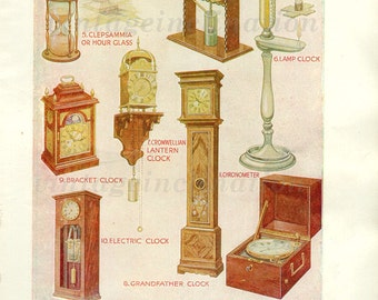 Antique Art Print, CLOCKS, Antique Print, 1950, time, clock print