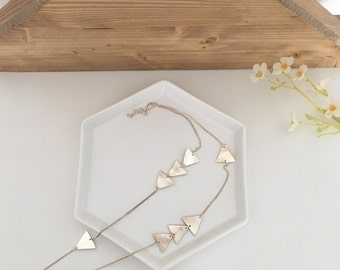 Long necklace with triangles, arrows, layered look, fine silver, sterling silver chain