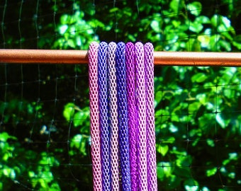 """LOT 7 purple 3mm mesh chain necklaces fit European Beads and Charms 16"""" 18"""" 20"""" 22"""" or custom length GORGEOUS COLORS!"""