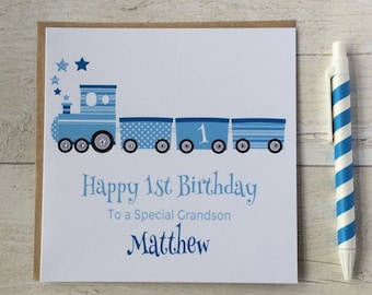 Personalised blue elephant birthday card son grandson nephew personalised train birthday card 1st first 2nd 3rd 4th 5th bookmarktalkfo Images