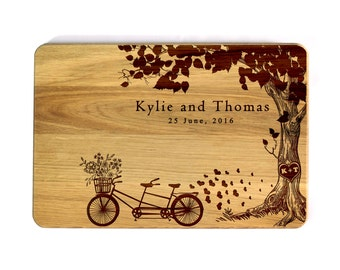 Personalized Wedding gift Personalized Cutting board Wedding Tandem bike Bridal Shower Gift Wedding Gift for couple Engraved cutting board
