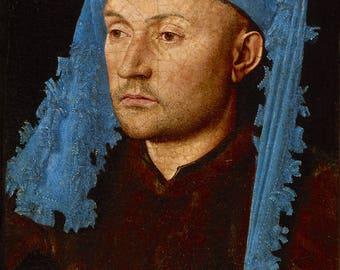 Jan van Eyck: Portrait d'un homme avec un Chaperon bleu. Fine Art Print/Poster (004615)