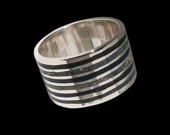 925 Solid Sterling Mosaic Dark storm ring - ALL SIZES