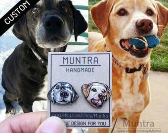 MADE to ORDER PET Stud Earrings Custom Dog Earrings Custom Resin Earrings Custom Dog Jewelry Custom Hand-Painted Dog Earrings Lover Gift