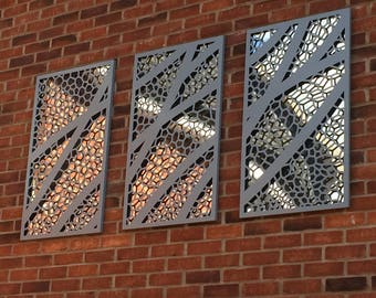 Rectangular mirror backed decorative panels.