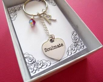 Personalized Soulmate Birthstone Key Chain, Soulmate Birthstone Key Chain, Personalized Key Chain, Personalized Soulmate Key Chain, K23