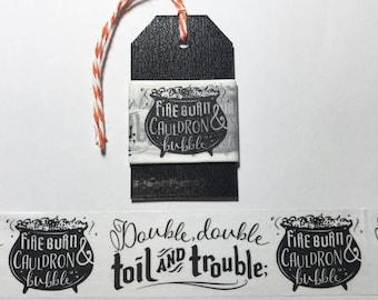"30"" Cauldren Double Double Toil and Trouble Washi Tape Sample"