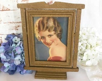 Antique Wood Swing Framed, Vintage Art Deco 1920's Roaring Flapper Pin-up Girl Wall Art print, tilting swivel tabletop pedestal frame
