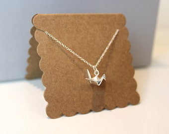 Silver Origami Crane Swan Necklace // dainty sterling silver necklace // with gift packaging