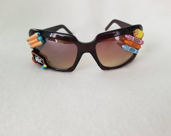 School time teacher themed sunglasses with chalkboard, pencils, crayons