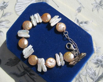 Coin and Stick Pearl Bracelet