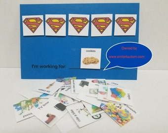SUPERMAN Token system w/ real images PECS card 4 children w/ Aspergers, autism, Aprexia: helps increase positive behavior & structured ed.