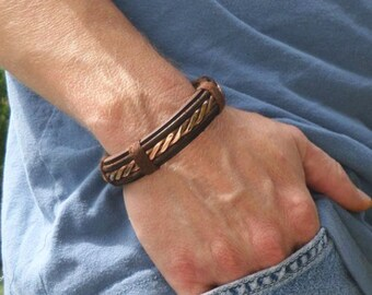 Men's Leather and Copper Bracelet, Men's Leather Bracelet, Men's Copper bracelet, Copper Bracelet, Leather Bracelet, ColeTaylorDesigns