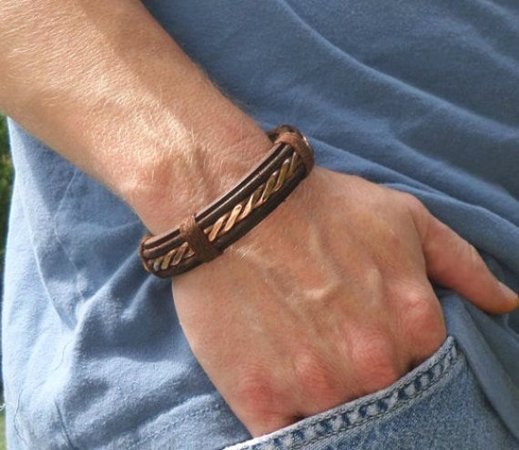 Men S Leather And Copper Bracelet Men S Leather