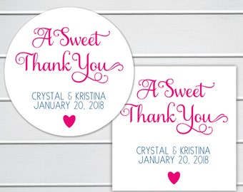 A Sweet Thank You Favor Stickers, Wedding Favor Sticker, Favor Stickers, Favor labels (#533)
