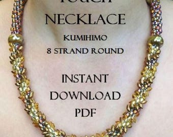 Kumihimo Necklace Pattern - Midas Touch Necklace - Instant Downloadable PDF - Kumihimo Pattern - 8 Strand Round - Intermediate