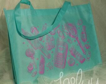 Teal Magical Girl Reusable Tote Bag