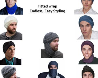 Men's Turban, Man's Head Wrap, Dreads Wrap, Ski Hat, Motorcycle Scarf, Man's Black or Brown Turban, Tactical Scarf