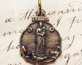 Bronze Stella Maris - Virgin Mary Star of the Sea Medal - Antique Reproduction