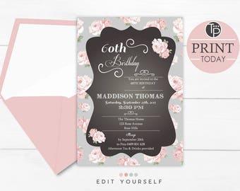 SHABBY CHIC Birthday Invitation, Instant Download High Tea Invitation, Rose Invitation, 1st, 30th, 40th, 50th, 60th, Editable Invitation