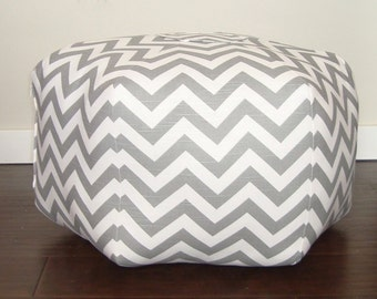 Grey Chevron floor pouf, cushion, ottoman, foot stool