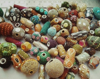 25 Pcs Hand Made & Hand Coloured Lac Beads, kashmiri Beads decoration