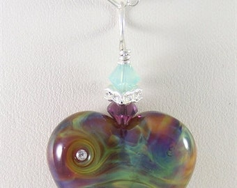 Green & Purple Heart Glass Lampwork Focal Bead Pendant - SRAJD
