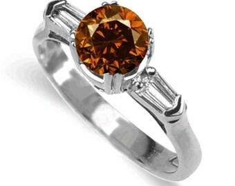cognac diamond ring  18k white gold