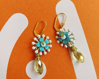 Yellow Drop Earrings, Flower Dangle Earrings, Romantic Filigree Crystal Earrings