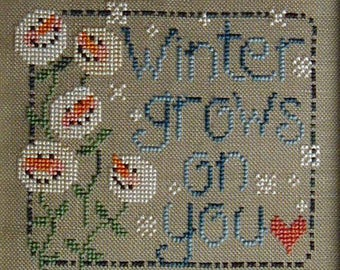 INSTANT DOWNLOAD Waxing Moon Designs Winter Grows on You PDF counted cross stitch patterns at thecottageneedle.com holidays snowman