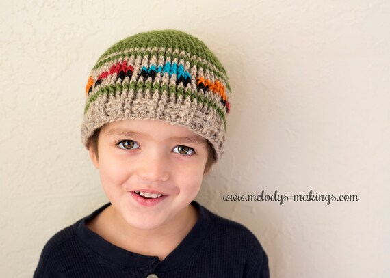 Boys Hat Crochet Pattern - Kid Hat Crochet Pattern - Boy Truck Hat ...